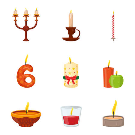 Burning candles different shapes and design in candelabrum and candlestick set. Objects isolated on white. White, red, striped, short, tall, festive, simple, vintage, numeral. Vector flat Illustration Illustration