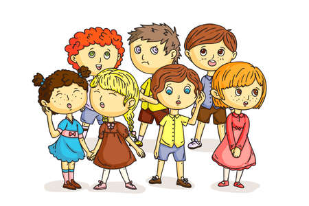 Funny children choir isolated on white. Cartoon boys and girls singing song together. Cute kids performing in kindergarten or school. Chorus performance. Little artists. Vector flat illustration