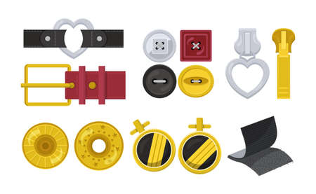 Clasps design elements flat set isolated on white. Carabiner, hook or snap for bag, belt. Buckle leather, tabs, straps. Cufflinks, buttons different shapes and materials. Vector cartoon illustration