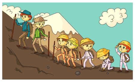 Travel expedition with schoolchildren in mountains Ilustração