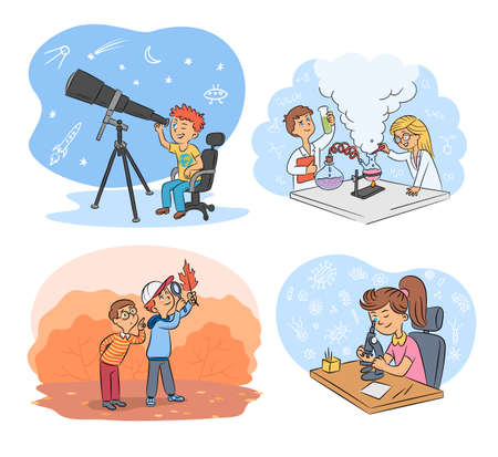 Kids science and exploration cartoon scenes set