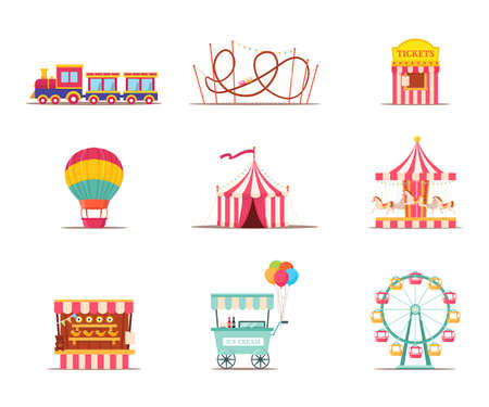 Amusement park attractions illustrations set isolated on white background