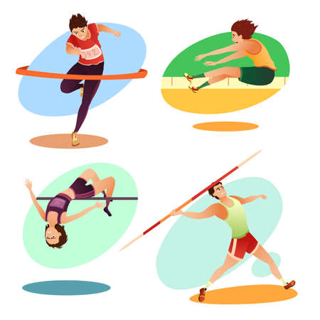 Cartoon trained athletes doing  sport set Vectores