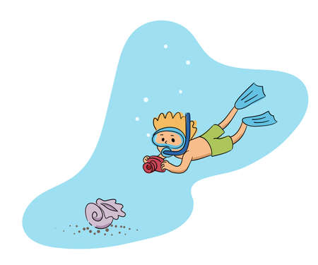 Cute little boy wearing mask and swimming suit diving. Happy child making photo with shell underwater. Traveler excited to take pictures with sea animals. Cutout water scene. Vector illustration