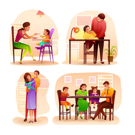 Happy family spending time at home scene flat set