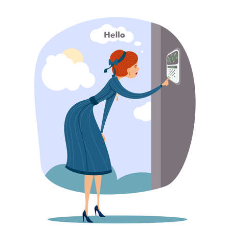 Young woman saying hello pressing button and looking at home camera standing near entrance door. Smart house. Biometric voice audio surveillance security protective system. Vector flat illustration Ilustração