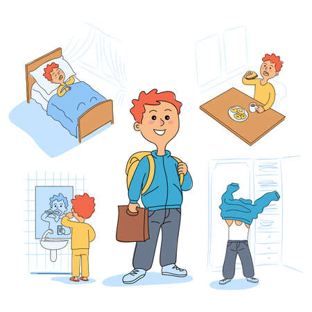Cute boys daily morning activities cartoon bundle. Everyday routine scene set. Child wake up, brushing teeth, having breakfast, dressing up. Funny kids character. Vector flat illustration