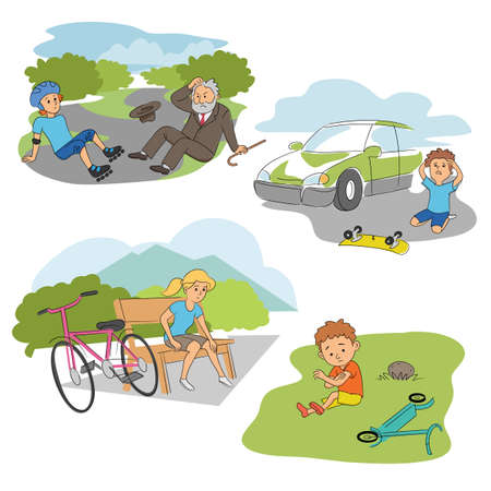 Accident with kids on road people scenes flat set  イラスト・ベクター素材