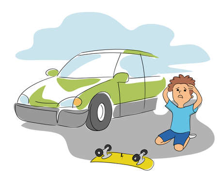 Little boy crashed on skateboard collides with car. Road traffic collision accident and risk cartoon scene. Upset scared child sitting on ground and holding hands on head. Vector flat illustration Vettoriali