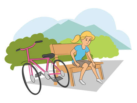 Unhappy sad young girl teenager cyclist with injured knee leg pain sitting on bench in park. Traffic accident with kids. Child bicycle crash. Safety on road. Vector cartoon flat illustration