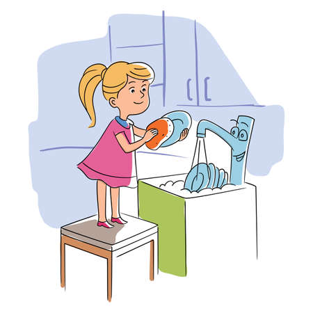 Little happy girl helper washing dish in kitchen. Vector illustration concept family. Adorable kid doing housework chores at home. Cartoon child standing on flat chair. Cute sink tap with eyes