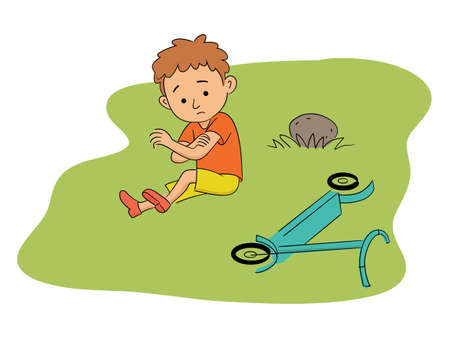 Sad unhappy little boy suffering from elbow ache sitting on grass after scooter accident in green park. Child with injured arm. Injuries, danger and safety during fun. Vector cartoon flat illustration