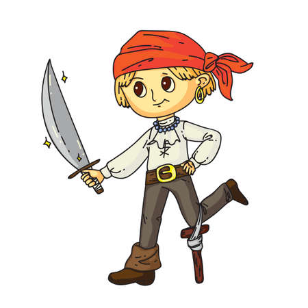 Little boy pirate with sward in hand, earring in ear standing isolated on white. One-legged sailor costume for halloween or carnival party. Birthday games and entertainment. Flat vector illustration Ilustracja