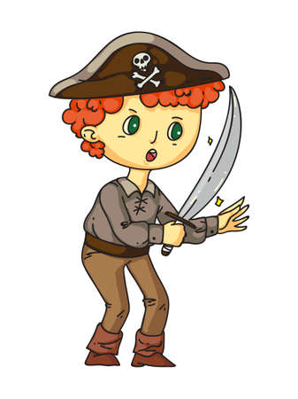 Little boy pirate with sward in hand, earring in ear standing isolated on white. Sailor costume for halloween or carnival party. Birthday games and entertainment. Flat vector illustration