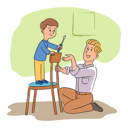 Happy father and son with screw driver repairing chair. Smiling parent and child working together, doing housework. Construction tools in hands. Boy helper character. Vector cartoon flat illustration