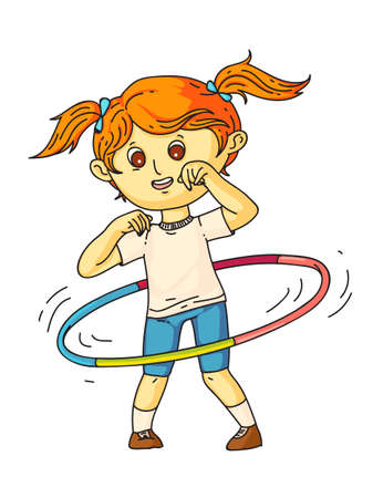 Little pretty girl wearing sports suit twisting hoop on waist standing isolated on white. Happy child training, exercising. Healthy recreation. Active childhood lifestyle. Vector flat illustration 일러스트
