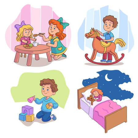 Cute children playing with toys cartoon scene set Vettoriali