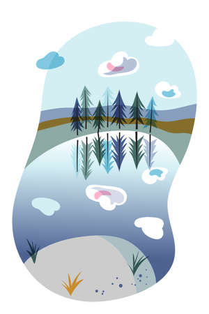 Lake shore, spruce forest natural landscape. Evergreen fir trees. Coniferous wood. Travelling and active rest. Beautiful wilderness. Summer vacation. Hiking and trekking. Vector flat illustration Vectores