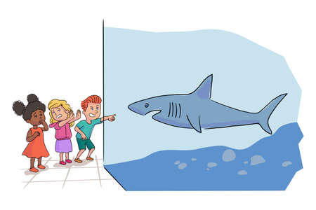 Afro-american and caucasian preschooler kids group team looking at ocean fishes standing by shark aquarium. Marine flora and fauna, underwater fish and sea animals. Vector flat illustration