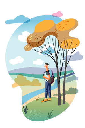 Happy man character with backpack walking in autumn forest or spring wood cutout cartoon. Flat natural landscape. Long river and beautiful nature enjoyment. Rest and recreation. Vector illustration Vectores