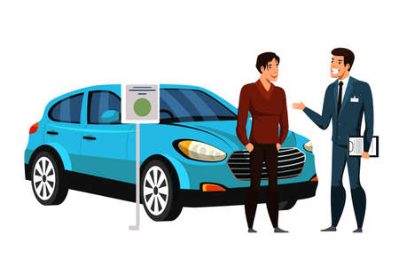Dealer manager consulting car showroom client potential buyer on white. Automobile rent, leasing or buying. Man customer choosing transport and friendly salesman offering services. Vector illustration