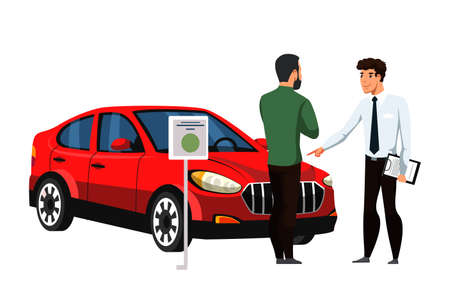 Seller talking to customer about car. Dealer and future vehicle owner. Rental center service. Cartoon people characters and automobile isolated on white. Showroom dealership salon. Vector illustration Ilustrace