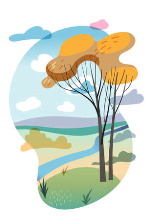 Beautiful scene natural landscape cutout cartoon. Autumn forest. Fall tree on Riverbank. Green meadow and river. Cloudy sky. Silence and tranquil. Picturesque nature. Vector flat illustration Vectores
