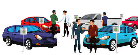 Sellers potential buyers group in luxury car showroom. Dealership center presenting new automobiles. Dealer manager with client discussing vehicle. Customers in distribution shop. Vector illustration
