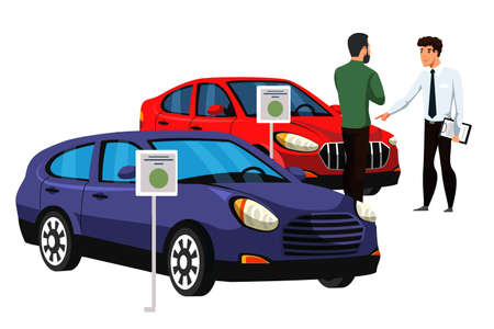 Seller talking to customer about car. Dealer and future vehicle owner. Rental center service. Cartoon people characters and automobile isolated on white. Showroom dealership salon. Vector illustration