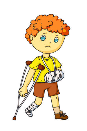 Upset little boy with injured arm in bandage and broken leg in gypsum waking on crutch. Cute sick child cartoon character feeling unwell standing isolated on white. Vector flat illustration