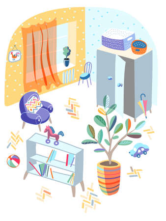 Playroom for fun, education and games in kindergarten design interior. Messy room. Toys and furniture. Kid area for recreation. Shelves rack, armchair, closet, flowerpot. Vector illustration