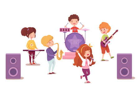 Pop rock band flat vector illustration. Young musicians, performers cartoon characters. Boys and girls groupe performing live on stage. Music show, party, entertainment. Artists playing instruments