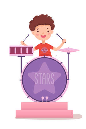 Boy drummer flat vector illustration. Talented young musician holding drumsticks cartoon character. Pop rock concert, music show, live stage performance. Band member, cheerful kid playing drums