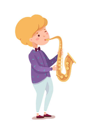 Talented young boy playing saxophone isolated on white. Acoustic musical instrument. Kid jazz band player. Little saxophonist character. Jazzman performing blues melody. Vector illustration