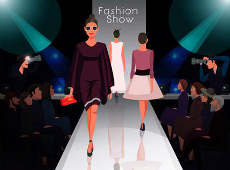Models on catwalk on fashion trends review show