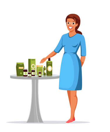 Woman presenting natural organic healthy cosmetic Ilustración de vector