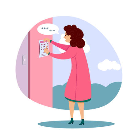 Young woman character enter password code for home access. Electronic opening system. House combination lock. Security and recognition. Safety and protection. Vector cartoon flat illustration