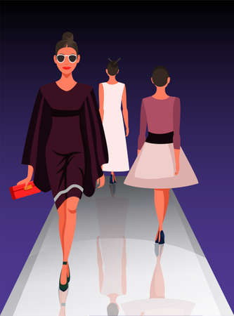 Models showing new clothes trendy outfit. Beautiful women walking on catwalk. Fashion trends review show. Podium under spotlights. Vector illustration Vettoriali