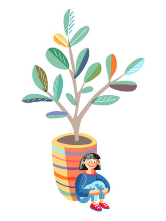 Little girl sitting leaned back to huge flowerpot hide from friends. Hide-and-sick game. Happy childhood. Fun recreation. Child character and houseplant in pot isolated on white. Vector illustration 일러스트