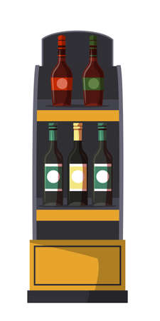 Shelves rack with alcohol bottle isolated on white