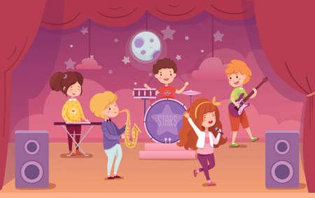 Children music band performing on concert scene Illustration