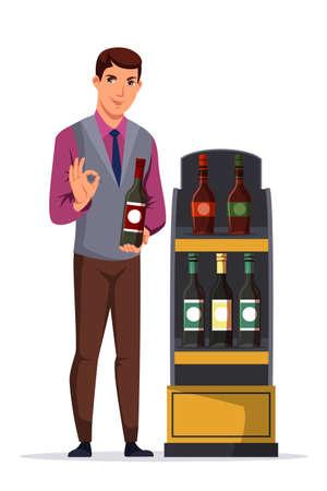 Man sommelier presenting wine bottle on white Illustration