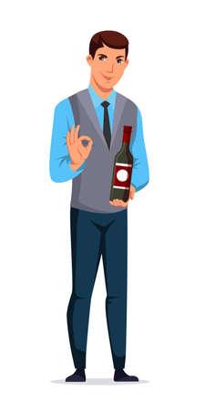 Man sommelier, salesman or restaurant waiter presenting wine bottle. Male character standing on white. Presentation beverage. Vector illustration.