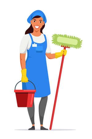 Woman housemaid in apron holding tools on white Ilustracje wektorowe