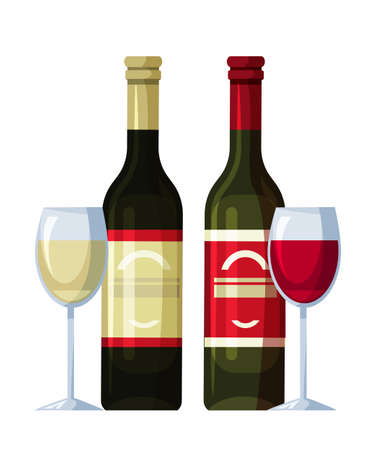Two bottles of red and white wine and wineglasses