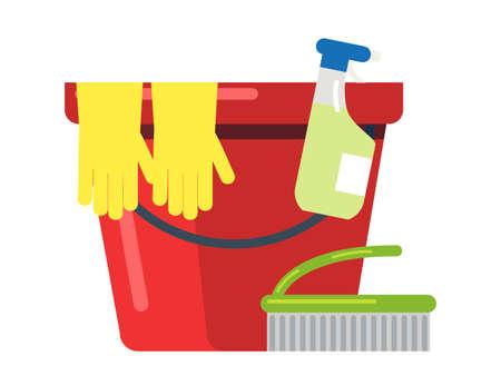 Bucket, rubber gloves, detergent, brush on white