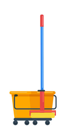Bucket on wheels, mop for floor cleansing on white Vectores