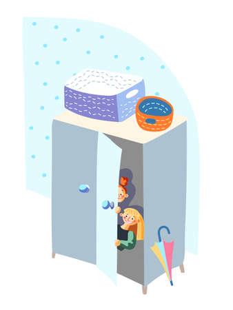 Kids hiding in closet play hide-and-sick game Vektorgrafik