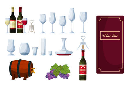 Wine set with menu list, bottle, winery glassware