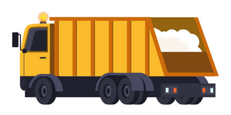 Modern yellow dumping truck for snow transportation after snow remove from frozen street during snowfall in winter season. Snowremoval machine. Special urban municipal transport. Vector illustration